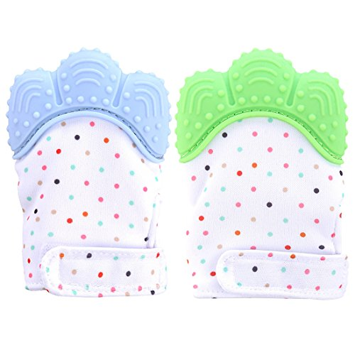 Teething Mitten, Petforu 1 Pair /2pcs Baby Self-soothing Teether Crawling Protective Gloves for Toddlers FDA Approved BPA Free