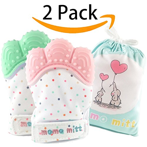 Baby Teething Mittens for Babies Soothing Pain Relief ,Teething Mitt Teether Gloves BPA Free, massage teether Mitt, teething Toys, infant for 3-12 months baby(Pink+Mint Green)