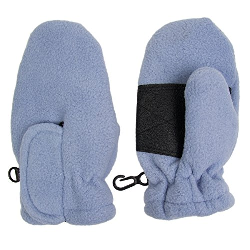 Toddler Fleece Insulated Mittens Boys Girls Velcro Wrist Clips Warm Winter Snow