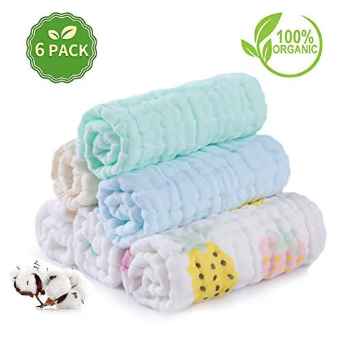 Baby Muslin Wash Cloths Set AiKiddo Newborn Infant Soft Bath Cloth Multi-purpose 6 Layer Natural Baby Washcloth for Baby Girls and Boys 26x26 cm 6 Pack, Printed Patterns Assorted