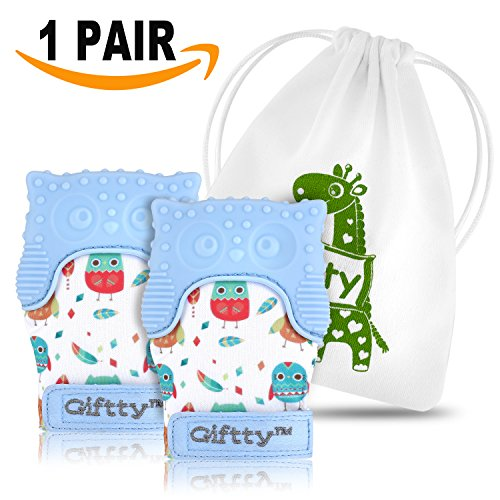 Two Baby Teething Mittens by Giftty, Soothing Teether Mitt & Teething Pain Relief Toy, Prevent Scratches Glove, Cute Animal Owl Collection, Unisex for 0-9 months Baby (2-mittens, 1 Travel bag, Blue)