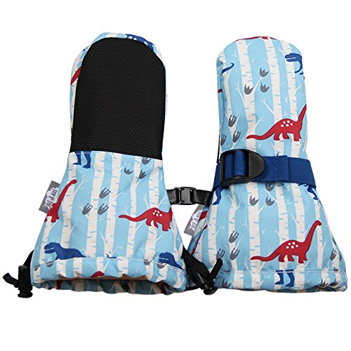 Waterproof Stay-on Mittens for Baby Toddler Kids ( XS: 0-2Y,Dino )