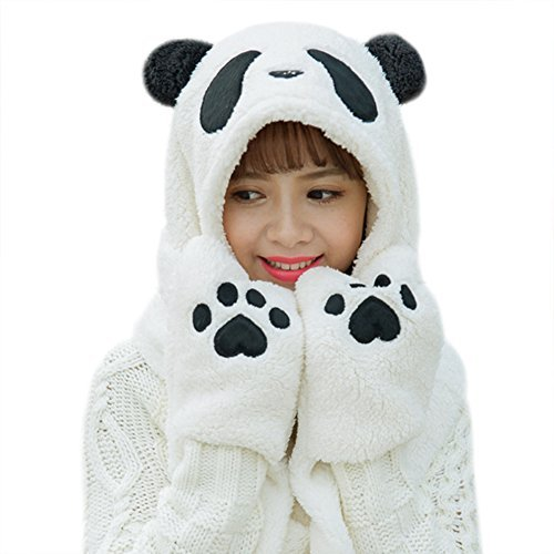Unisex Adult Warm Panda Crochet Beanie Hat with Built-in Earmuffs,Scarf Gloves Set