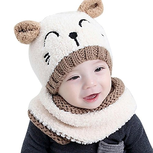 Toddler Baby Beanies Scarf Set Boys Windproof Hats Girls Knitted Cap For Kids Soft Warm Winter Cute Cartoon Cat Hat (White)