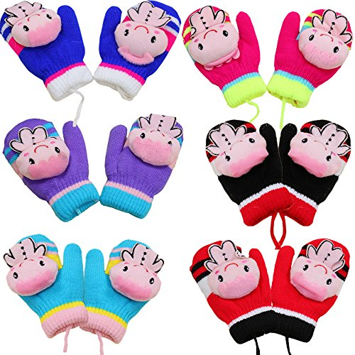 Children Kids Cartoon Gloves Trigger Finger Thicken Knit Warm Mittens Unisex