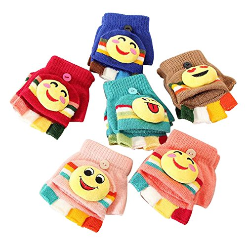 tueselesoleil Winter Baby Knit Cartoon Button Convertible Fingerless Gloves