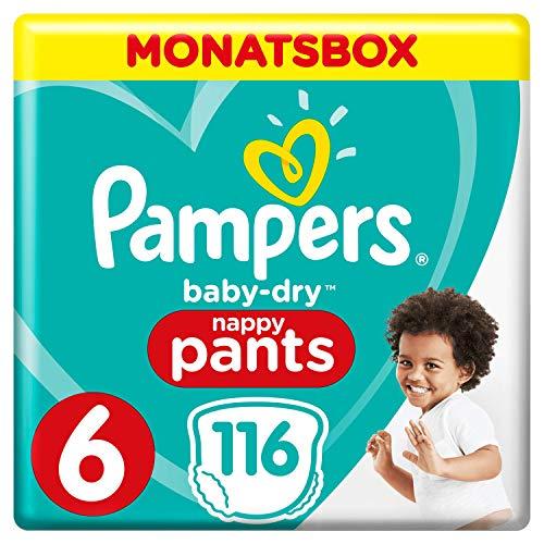 Pampers Baby-Dry 116 Windeln Pants, Größe 6, Mit Luftkanälen Monatsbox