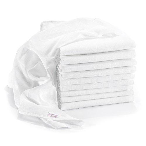 Mullwindeln / Spucktücher - 10er Pack, 80x80 cm, weiß | PREMIUM QUALITÄT - schadstoffgeprüft, doppelt gewebt, ÖKO-TEX zertifiziert, verstärkte Umrandung, kochfest | Stoffwindeln & Mulltücher fürs Baby